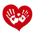 Two white handprints on a red heart vector image vector image