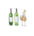 two wine bottles and two wineglasses with vector image