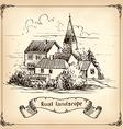 Vineyard Landscape - hand drawn vector image
