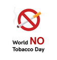 world no tobacco day banner or card vector image vector image