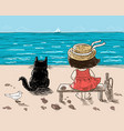 a little girl and her cat are sitting on the vector image