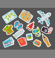 airport travel icons flat tourism suitcase vector image vector image