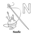 alphabet letter n coloring page needle vector image vector image