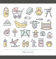 baby care line icons with editable stroke vector image vector image
