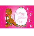 beaver with a bouquet vector image vector image