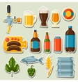 Beer stickers and objects set for design vector image