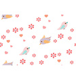 Bird and flower pattern vector image vector image