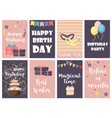 birthday greeting cards design happy party vector image