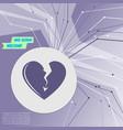 broken heart icon on purple abstract modern vector image