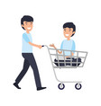 businessmen with shopping cart vector image