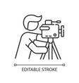 cameraman pixel perfect linear icon vector image vector image
