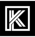 Capital letter K From white stripe enclosed in a vector image vector image