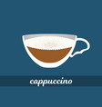 cappuccino coffee cup with milk foam vector image