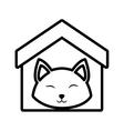 Cat fluffy animal clossed eyes house pet outline