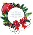 Christmas card with red bauble vector image vector image