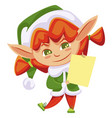 christmas helper standing with postcard vector image