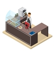 Coffee Shop or Bar Counter and Barista Isometric vector image vector image