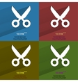 Color set Scissors Flat modern web button with vector image