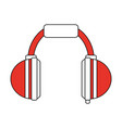 color silhouette image cartoon orange headphones vector image vector image