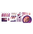 cosmetics and fashion set with make up artist vector image