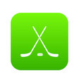 crossed hockey sticks and puck icon digital green vector image vector image