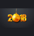 design of a new year black background 2018 with vector image vector image