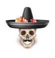 dia de los muertos day of dead skull flower vector image vector image