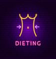 dieting neon label vector image vector image