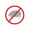 dust mite with a sign is forbidden vector image