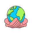 earth in palm up planet vector image vector image