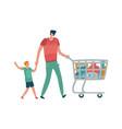 family shopping father and son shopper man vector image vector image