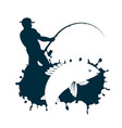 fisherman catches fish vector image