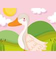 goose bird grass sun clouds farm animal cartoon vector image vector image