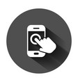 Hand touch smartphone icon in flat style phone