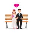 happy cute groom and bride cartoon sitting vector image