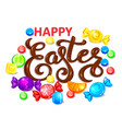 happy easter chocolate word lettering with vector image vector image