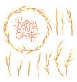 Happy easter inscription wreath and set of willow