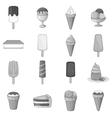Ice cream icons set gray monochrome style vector image