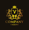 luxury letter v logo vector image vector image
