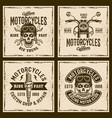 motorcycles four colored vintage grunged emblems vector image vector image