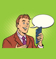 online communication is a businessman and vector image