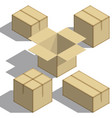 packing boxes isometry set on white background vector image vector image