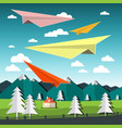 paper plains landscape with airplanes vector image