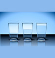 pure water glasses or fresh water in glasses vector image vector image
