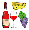 red wine set bottle glass with grapes and cheese vector image