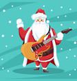 Rocker santa claus design with guitar