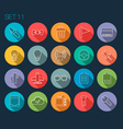 Round Thin Icon with Shadow Set 11 vector image