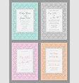 set of elegant wedding invitation in pastel vector image