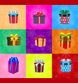 set of gifts with ribbons wrapped in colored vector image