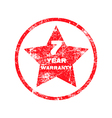 seven year warranty red grungy stamp vector image